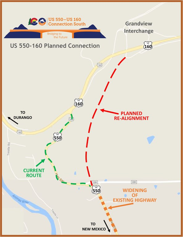 US 160-550 New Connection Map