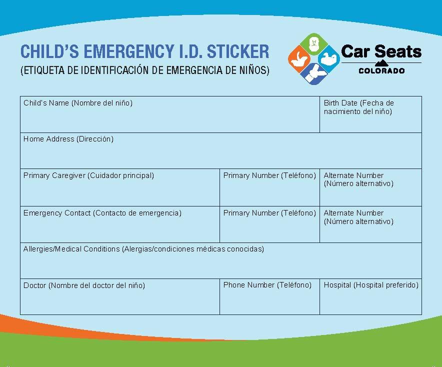 Emergency ID Sticker