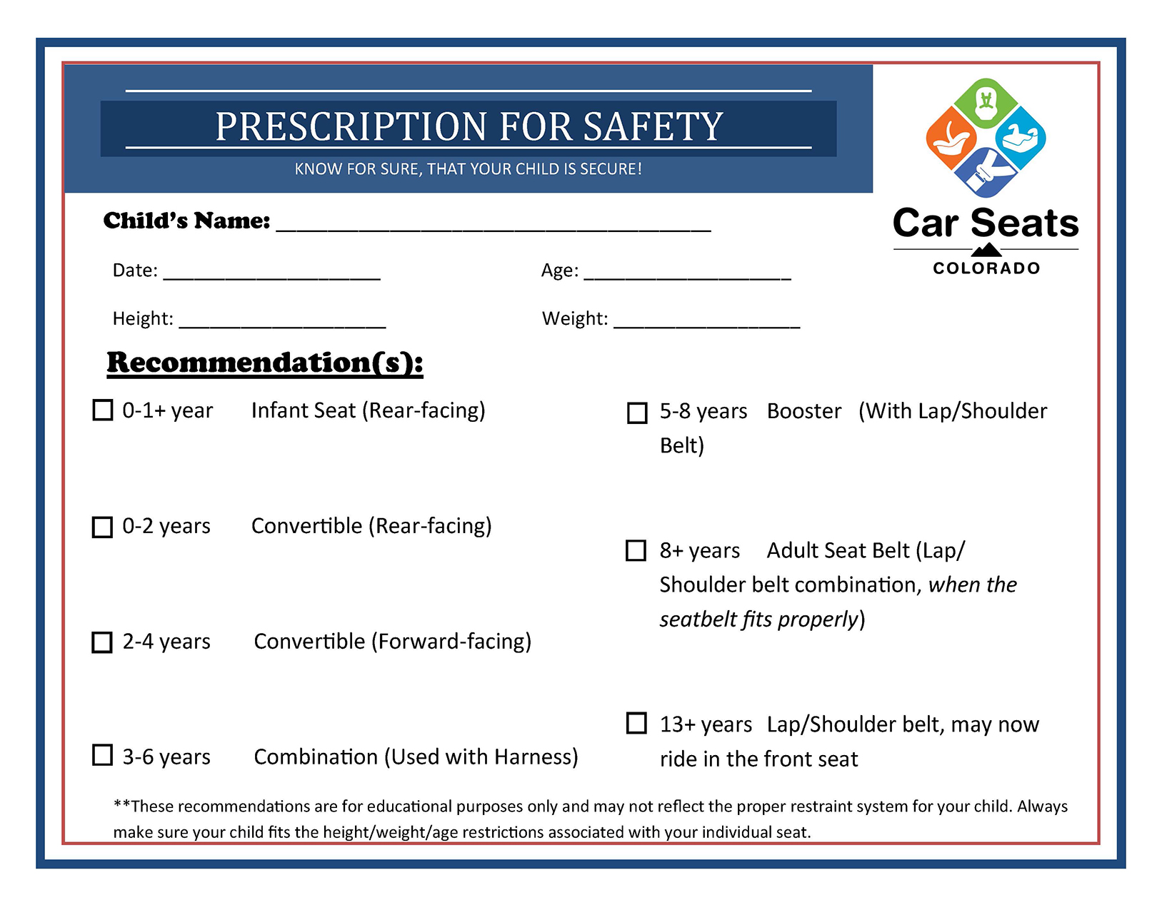 Prescription Child Safety Card