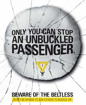 Beware of the Beltless Bus Shelter Banner 2 detail image